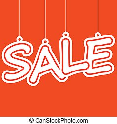 Sale hangtag - hangtag with white letters sale on red...