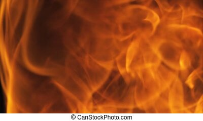 Hot Fire Burning Black Background - 4k Hot Fire burning...
