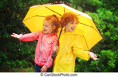 Girl and boy during a rain under one umbrella.