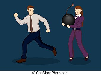 Businessman Running Away from Trouble Vector Illustration -...