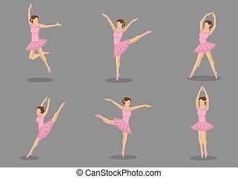 Cor-de-rosa, tutu, bailarina, vetorial, ícone, jogo,