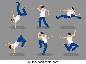 Hip Hop Dancer Vector Icon Set - Set of six male hip hop...