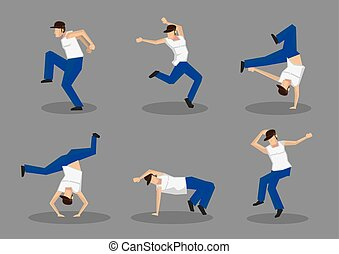 Funky Street Dancers Vector Icon Set - Set of six male hip...