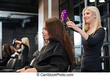 Stylist drying hair of a female client at beauty salon -...