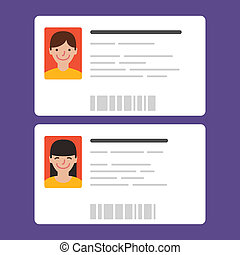 Id cards with the cute persons. Vector illustration. Flat...