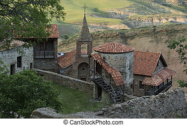 View from top to David Gareja cave monastery complex Kakheti...