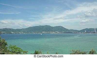 Phuket bay establishing shot clip
