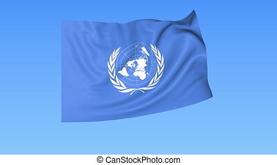 UN organization flapping flag. Seamless looping, 4K ProRes with alpha channel