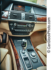 automatic transmission lever. Detail of modern car interior, automobile gear