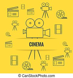 Abstract background with cinema camera, film reel, filmstrip...
