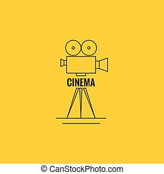 Movie projector vector illustration. Cinematic camera. Logo....
