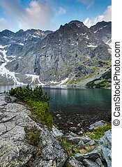 Highest Polish peaks Rysy reflection in clear water pond