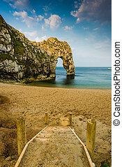 Durdle Door famous rock formation in Dorset Jurassic...