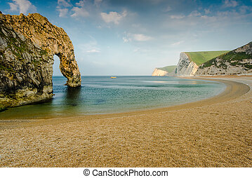 panoramic view over durdle door beach, white cliffs and...