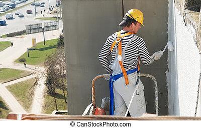 constructor, fachada, pintor, trabajo