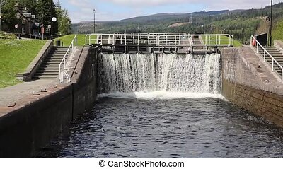 Water cascading through lock gates on the Caledonian Canal...