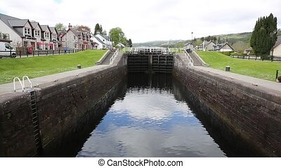 Caledonian canal lock gate Fort Augustus Scotland UK