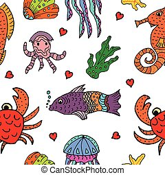 Marine life seamless pattern with sea animals.
