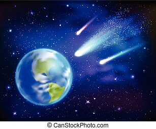 Comets Coming To Earth Background - Bright comets coming to...