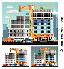 Construction And City Compositions Set - Block of flats...