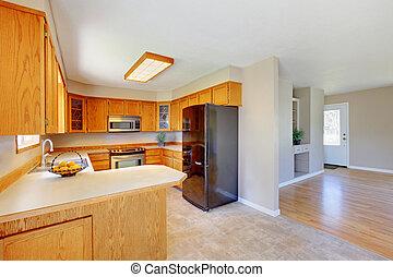clair, bois, cuisine, salle, intérieur, Conçu, dans, beige,...
