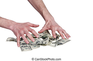 human hands and dollars money - two naked hairy man hands...