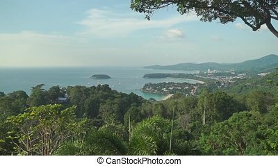 Establishing shot of beach area on Phuket, Thailand clip