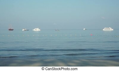 Different ships near Phuket Patong beach clip