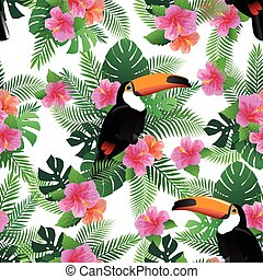 Seamless pattern with exotic hibiscus flowers, toucan, palm leaves.