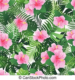Seamless pattern with exotic hibiscus flowers and palm...