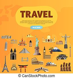 Travel the world. Monument concept. Road trip. - Travel the...