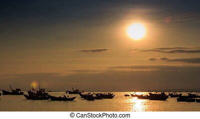 Fishing Boats in Sea Bay at Sunset in Vietnam under Sunpath