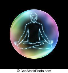Mindfulness Yoga Sukhasana - blue neon effect outline...