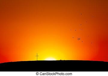 Cross on hill in Sunset/Sunrise