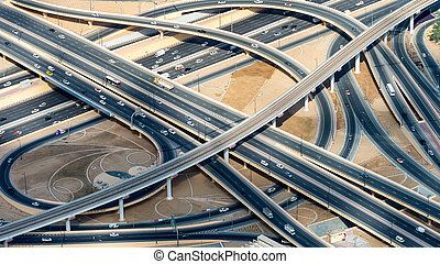 Major roads intersection, aerial view.