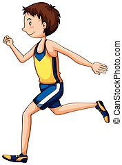 Man athlete running in race illustration