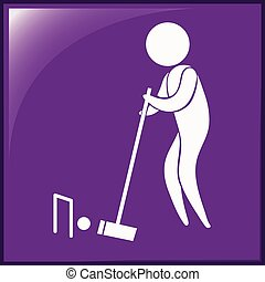 Sport icon for croquet on purple illustration