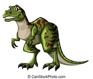 Green tyrannosaurus rex on white background illustration