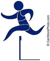 Sport icon for hurdle in blue illustration