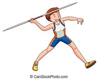 Man athlete doing javelin illustration