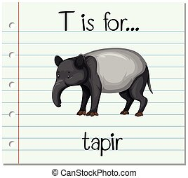 Flashcard letter T is for tapir illustration