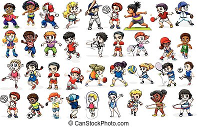 Children doing many sports and activities illustration