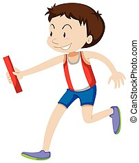 Runner running relay on white illustration