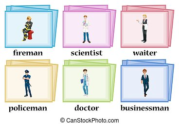 Vocabulary cards for occupations illustration