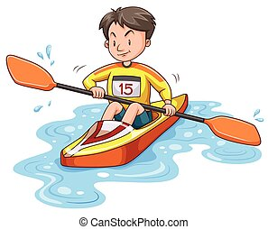 Man doing kayaking alone illustration