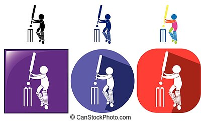 Three design sport icons for cricket illustration