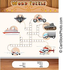 Word puzzle game template with transportations illustration