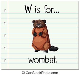 Flashcard letter W is for wombat illustration