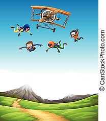 Four people doing sky diving