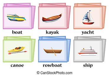Water transportations on flashcards illustration
